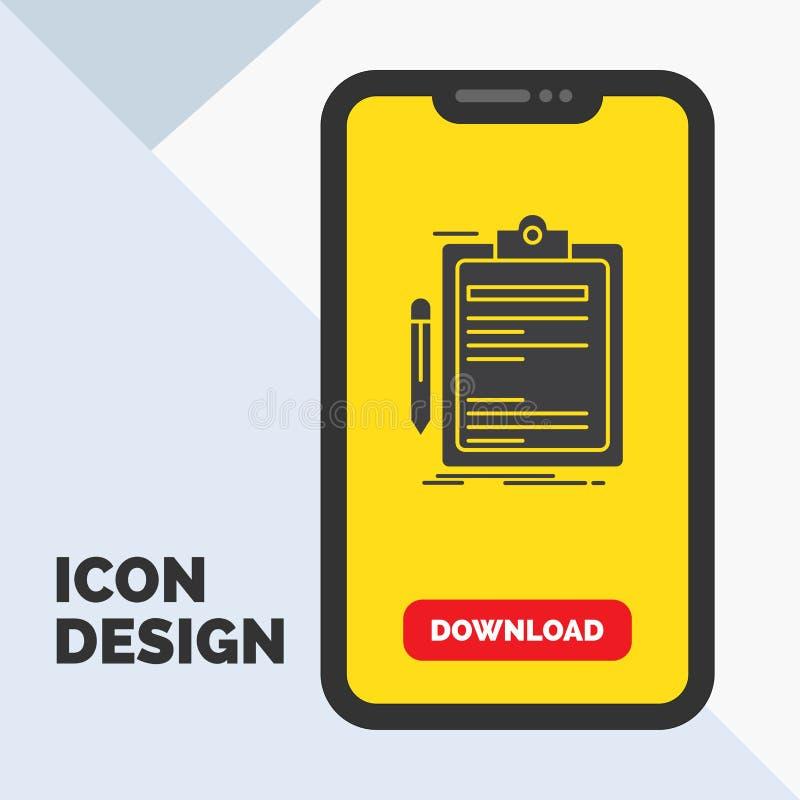 Σύμβαση, έλεγχος, επιχείρηση, που γίνεται, εικονίδιο Glyph πινάκων συνδετήρων σε κινητό για Download τη σελίδα r απεικόνιση αποθεμάτων