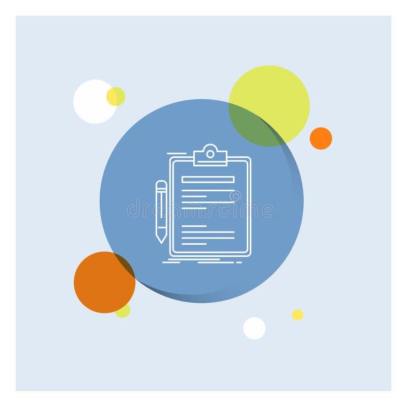 Σύμβαση, έλεγχος, επιχείρηση, που γίνεται, συνδετήρων πινάκων άσπρο γραμμών υπόβαθρο κύκλων εικονιδίων ζωηρόχρωμο απεικόνιση αποθεμάτων