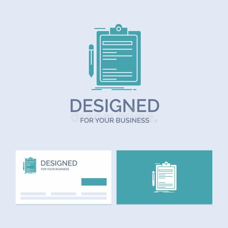 Σύμβαση, έλεγχος, επιχείρηση, που γίνεται, σύμβολο εικονιδίων Glyph επιχειρησιακών λογότυπων πινάκων συνδετήρων για την επιχείρησ ελεύθερη απεικόνιση δικαιώματος