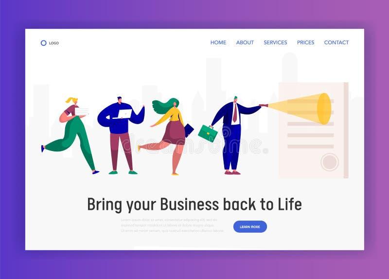 Σύμβαση ανάγνωσης χαρακτήρα επιχειρηματιών με την προσγειωμένος σελίδα γραμματοσήμων Γιγαντιαίοι άνθρωποι ομάδας που εξετάζουν τη διανυσματική απεικόνιση