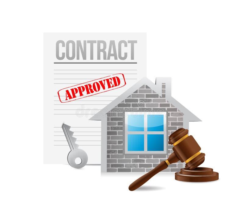 Σύμβαση επιχειρησιακών ακίνητων περιουσιών αφηρημένο μωσαϊκό απεικόνισης σχεδίου ανασκόπησης διανυσματική απεικόνιση