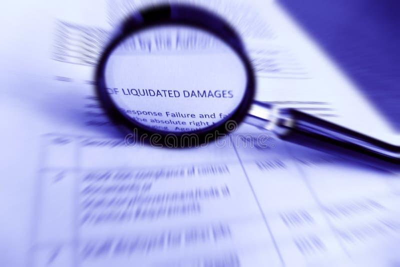 Σύμβαση μελέτης, εκκαθαρισμένες προδιαγραφές ζημιών στοκ εικόνες