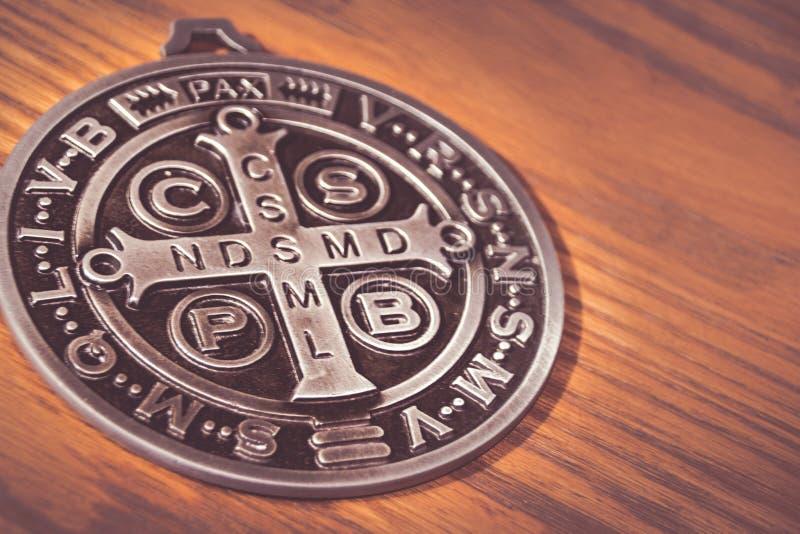 Σύμβολα Αγίου Benedict medall στοκ εικόνες
