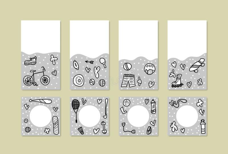 Σύμβολα αθλητικών δραστηριοτήτων επίσης corel σύρετε το διάνυσμα απεικόνισης απεικόνιση αποθεμάτων