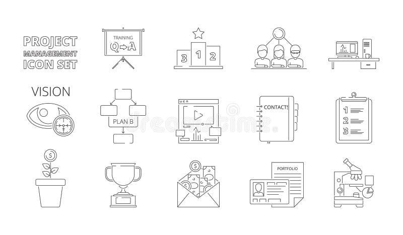 Σύμβολα διαχείρισης του προγράμματος Ο επιχειρησιακός προγραμματισμός επεξεργάζεται τα συστήματα Ιστού crm για το σχέδιο εργασίας διανυσματική απεικόνιση
