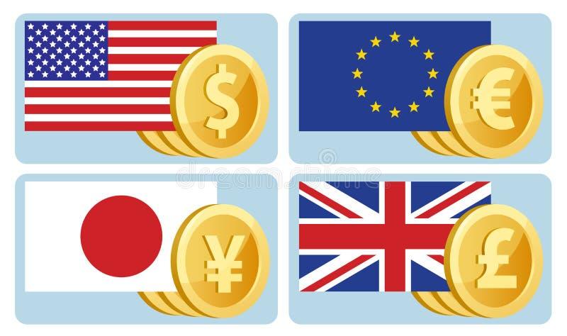 Σύμβολα νομίσματος: δολάριο, ευρώ, γεν, λίρα αγγλίας Σημαίες του θορίου διανυσματική απεικόνιση