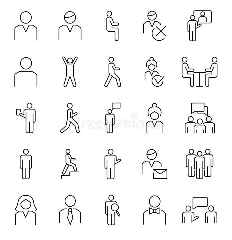 Σύμβολα προσώπων, βασική συλλογή εικονιδίων περιλήψεων διανυσματική Βασικές θέσεις αρσενικών, θηλυκών και ομάδων ανθρώπων ελεύθερη απεικόνιση δικαιώματος