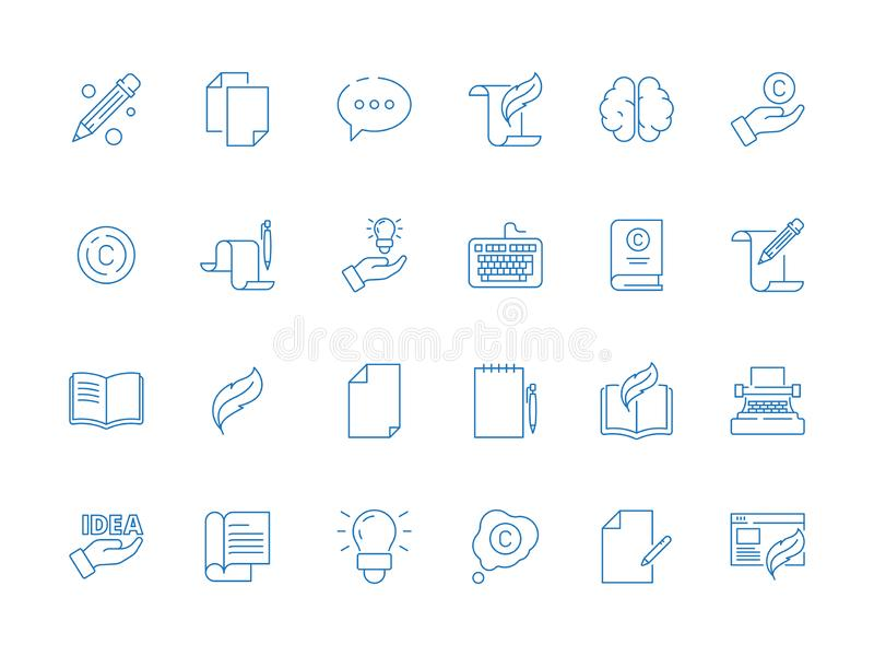 Σύμβολα Copywriting Τα βιβλία εργαλείων συγγραφέων δίνουν τις ιδέες άρθρου στυλό που η απλή διανυσματική λεπτή γραμμή δημιουργικό ελεύθερη απεικόνιση δικαιώματος