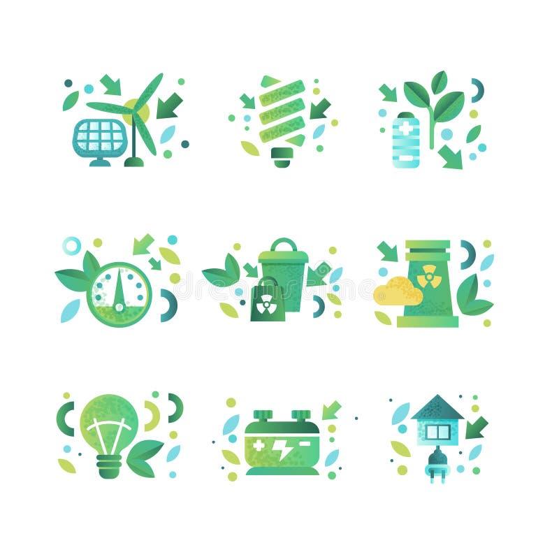 Σύμβολα Eco καθορισμένα, οικολογία cocept, προστασία του περιβάλλοντος, διανυσματική απεικόνιση τεχνολογιών eco φιλική σε ένα λευ διανυσματική απεικόνιση
