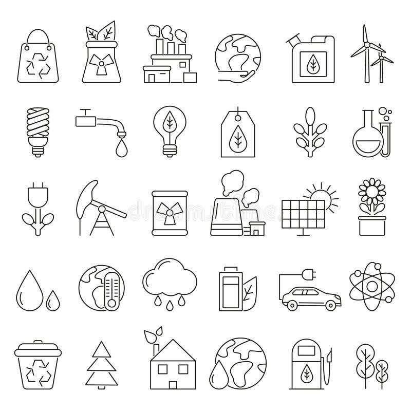 Σύμβολα Eco στο μονο ύφος γραμμών Βιομηχανικές και εικόνες οικολογίας καθορισμένες
