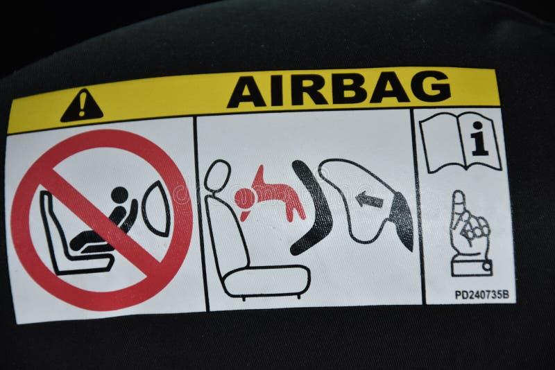 Σύμβολο αερόσακων στο αυτοκίνητο στοκ εικόνα