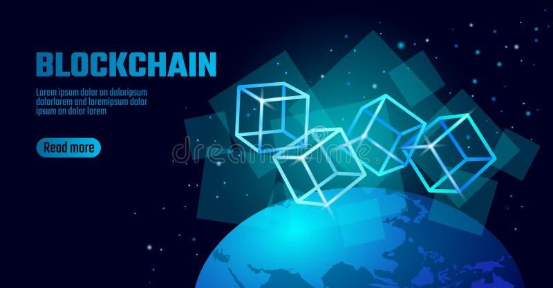 Σύμβολο αλυσίδων κύβων Blockchain στις τετραγωνικές πληροφορίες ροής στοιχείων κώδικα μεγάλες Μπλε σφαίρα πλανήτη Γη νέου καμμένο διανυσματική απεικόνιση