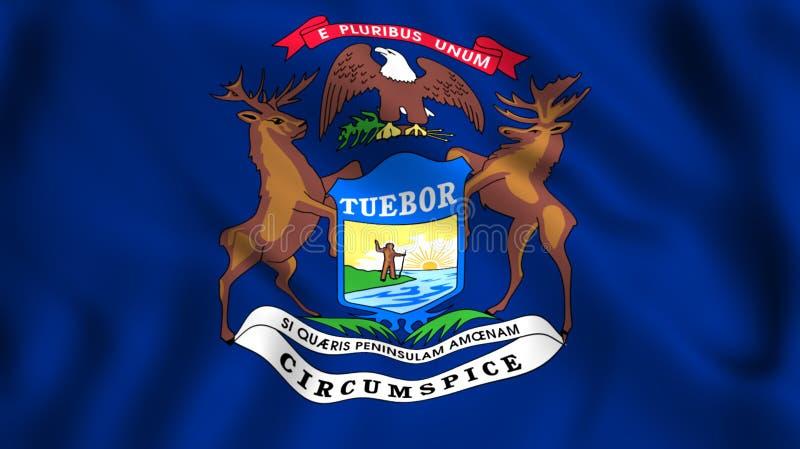 Σύμβολο αμερικανικού κράτους Πολιτεία του Michigan σημαιών διανυσματική απεικόνιση
