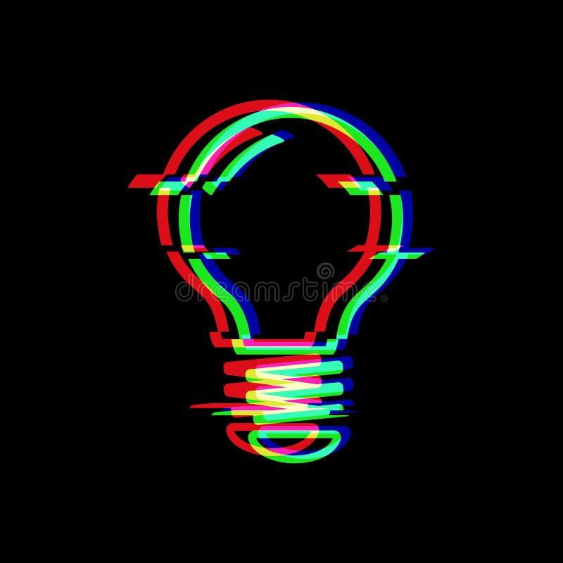 Σύμβολο γραμμών λαμπών φωτός στο ύφος δυσλειτουργίας Ηλεκτρικός λαμπτήρας Εικονίδιο της ιδέας που απομονώνεται στο μαύρο υπόβαθρο απεικόνιση αποθεμάτων