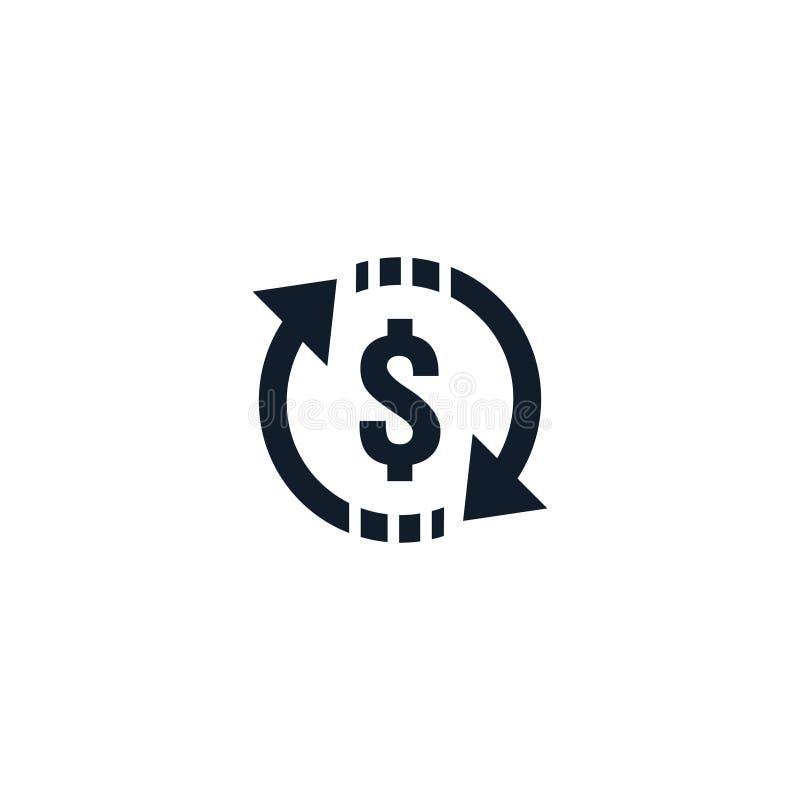 σύμβολο εικονιδίων μεταφοράς χρημάτων η ανταλλαγή νομίσματος, οικονομική υπηρεσία επένδυσης, πίσω επιστροφή μετρητών, στέλνει και διανυσματική απεικόνιση