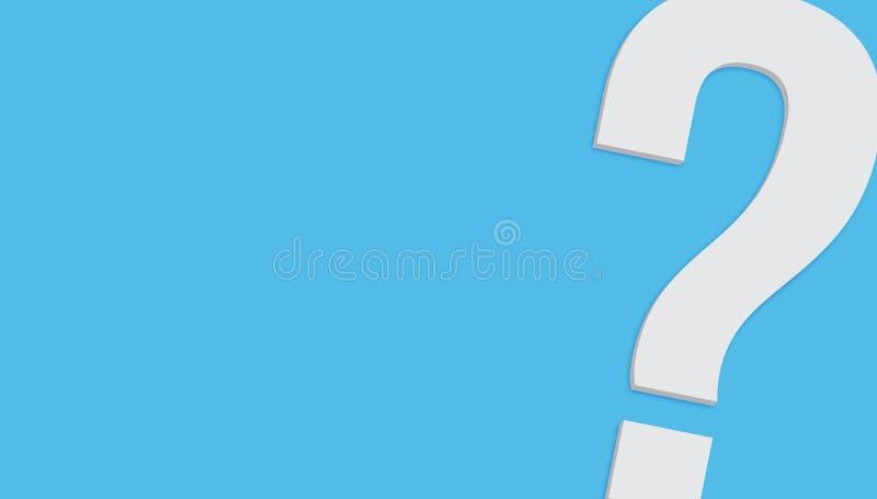 Σύμβολο ερωτηματικών μινιμαλιστικό άσπρο γκρίζο σε τρισδιάστατο χρώματος που δίνεται απομονωμένο στο μπλε υπόβαθρο κρητιδογραφιών διανυσματική απεικόνιση