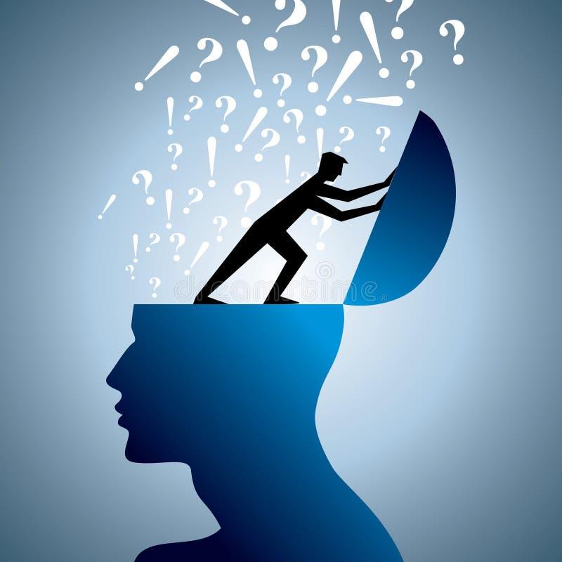 Σύμβολο ερώτησης και κεφάλι ατόμων ελεύθερη απεικόνιση δικαιώματος