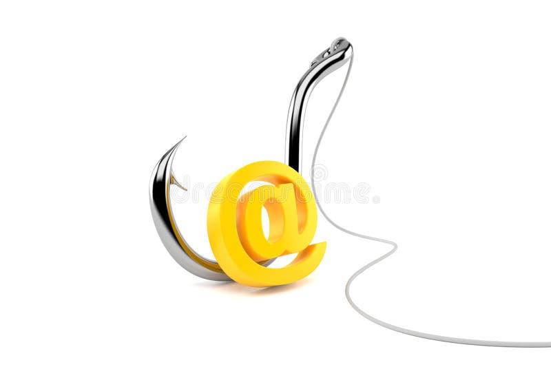 Σύμβολο ηλεκτρονικού ταχυδρομείου με την αλιεία του γάντζου απεικόνιση αποθεμάτων