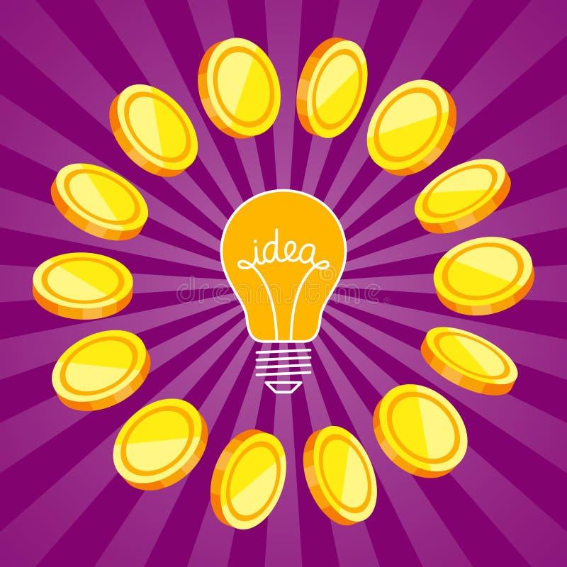 Σύμβολο ιδέας και χρυσά νομίσματα γύρω διανυσματική απεικόνιση
