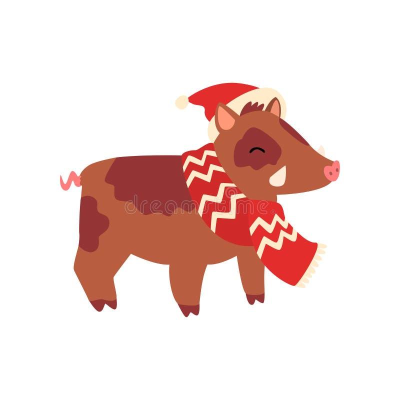Σύμβολο κάπρων του νέου έτους, χαριτωμένο ζώο του κινεζικού ωροσκοπίου σε Άγιο Βασίλη har και διανυσματική απεικόνιση μαντίλι σε  ελεύθερη απεικόνιση δικαιώματος