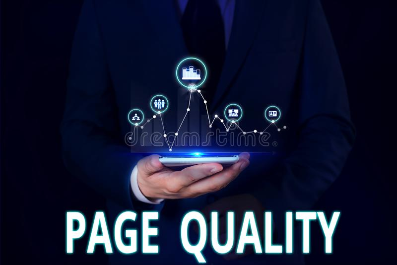 Σύμβολο κειμένου που εμφανίζει την ποιότητα σελίδας Εννοιολογική φωτογραφία Αποτελεσματικότητα μιας ιστοσελίδας όσον αφορά την εμ στοκ εικόνες