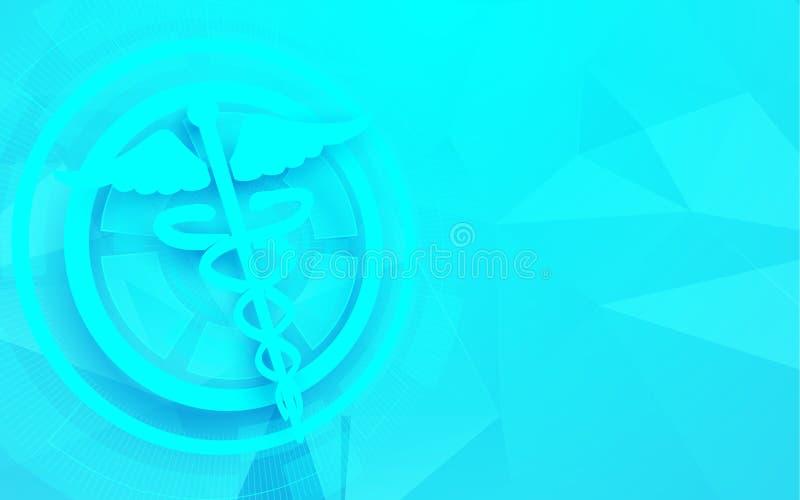 Σύμβολο κηρυκείων και ιατρική, υπόβαθρο έννοιας τεχνολογίας επιστήμης απεικόνιση αποθεμάτων