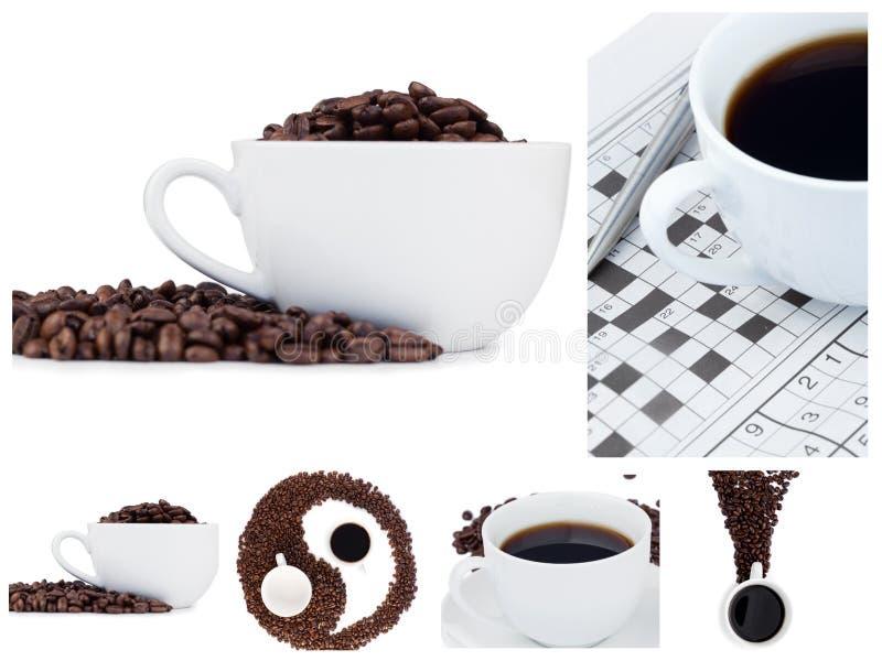 σύμβολο κολάζ καφέ yang ying στοκ φωτογραφίες