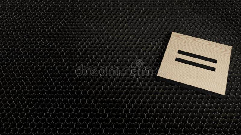 σύμβολο κοντραπλακέ περικοπών λέιζερ του ίσου 2 στοκ φωτογραφία