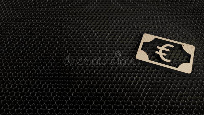 σύμβολο κοντραπλακέ περικοπών λέιζερ του ευρώ 2 στοκ φωτογραφία