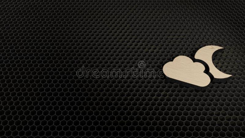 Σύμβολο κοντραπλακέ περικοπών λέιζερ του φεγγαριού σύννεφων στοκ εικόνα με δικαίωμα ελεύθερης χρήσης