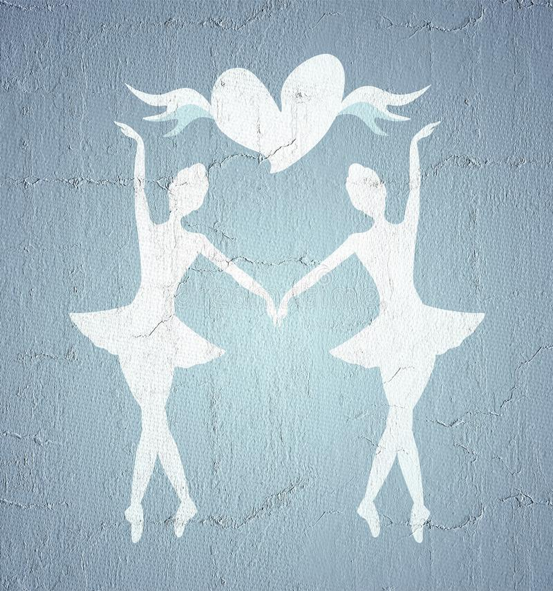 Σύμβολο κοριτσιών χορευτών διανυσματική απεικόνιση
