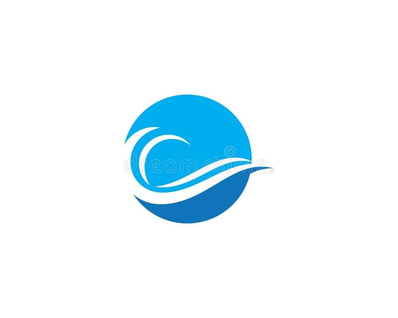 Σύμβολο κυμάτων νερού και πρότυπο λογότυπων εικονιδίων ελεύθερη απεικόνιση δικαιώματος