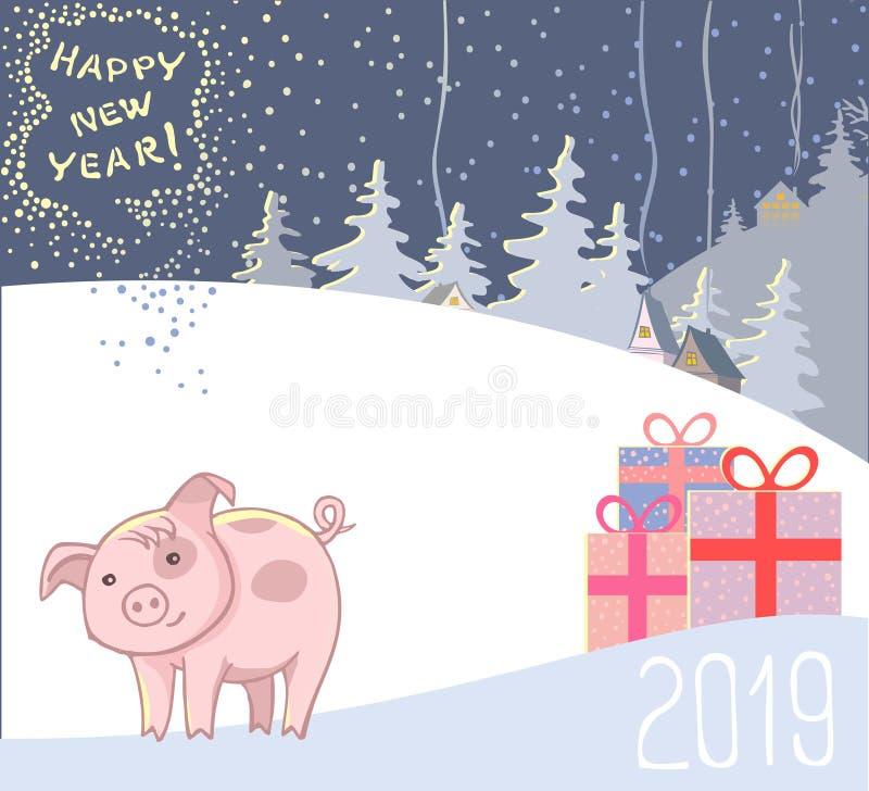Σύμβολο νέου το 2019, δύο χοίροι ερωτευμένοι στα μαντίλι και χαιρετισμοί μιας καλής χρονιάς ελεύθερη απεικόνιση δικαιώματος