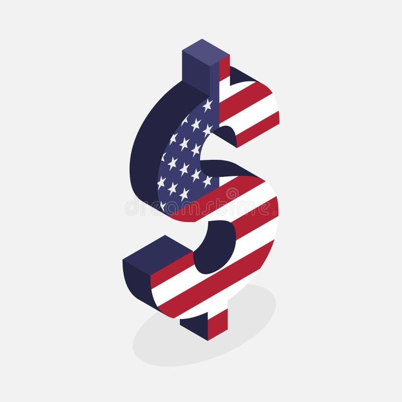 Σύμβολο νομίσματος δολαρίων με τη σημαία των Ηνωμένων Πολιτειών της Αμερικής ελεύθερη απεικόνιση δικαιώματος
