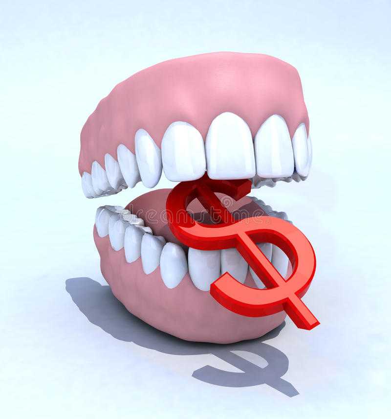 Σύμβολο οδοντοστοιχιών και δολαρίων διανυσματική απεικόνιση