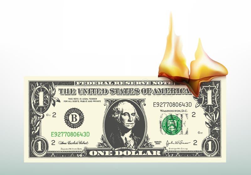 Σύμβολο οικονομικής κρίσης με να φλεθεί λογαριασμών δολαρίων διανυσματική απεικόνιση