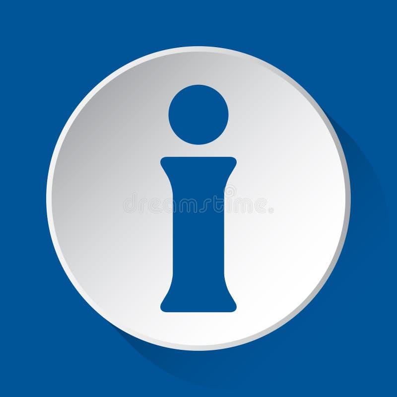 Σύμβολο πληροφοριών - μπλε εικονίδιο στο άσπρο κουμπί απεικόνιση αποθεμάτων