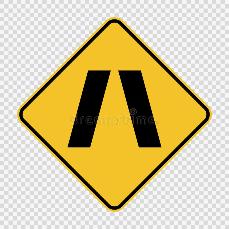 Σύμβολο που πλησιάζει το στενό σημάδι γεφυρών στο διαφανές υπόβαθρο ελεύθερη απεικόνιση δικαιώματος