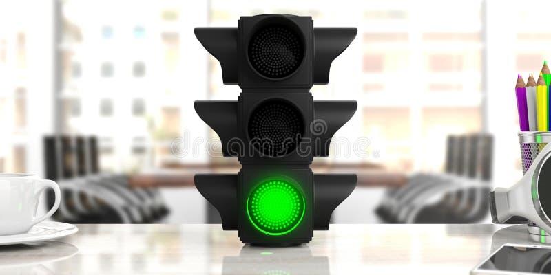 σύμβολο πράσινου φωτός βελών αερολιμένων Ο φωτεινός σηματοδότης, πράσινος πηγαίνει σήμα, στο γραφείο γραφείων, επιχειρησιακό υπόβ ελεύθερη απεικόνιση δικαιώματος