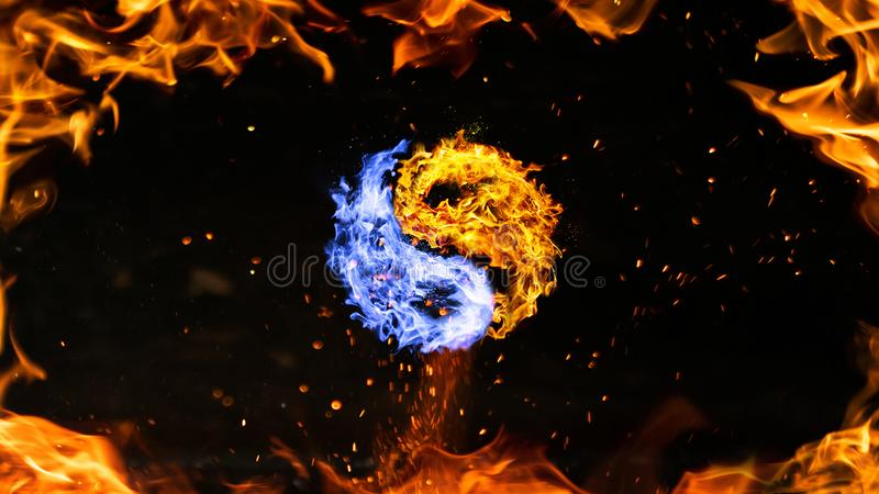 Σύμβολο πυρκαγιάς yin yang ελεύθερη απεικόνιση δικαιώματος
