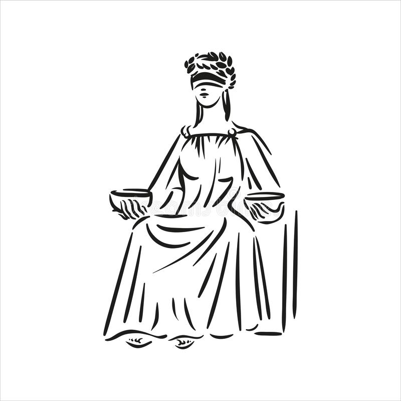 Σύμβολο συνεδρίασης της διανυσματικής απεικόνισης τέχνης γραμμών Themis δικαιοσύνης στο άσπρο υπόβαθρο διανυσματική απεικόνιση