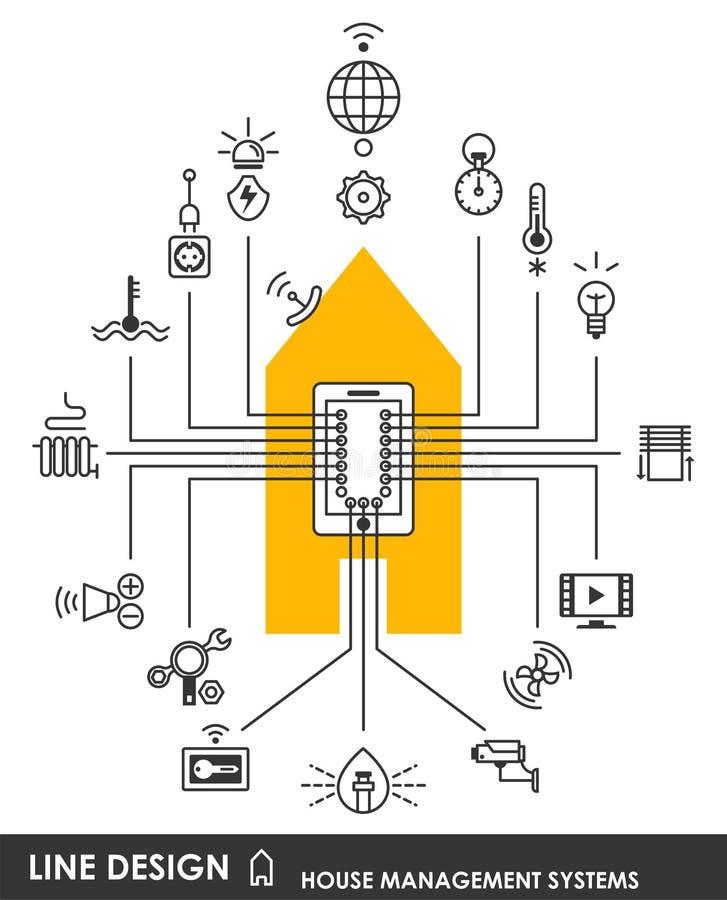 Σύμβολο συστημάτων διαχείρισης σπιτιών απεικόνιση αποθεμάτων