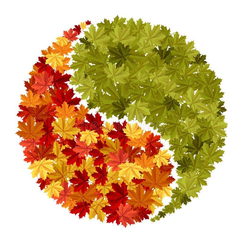 σύμβολο σφενδάμνου yang yin διανυσματική απεικόνιση