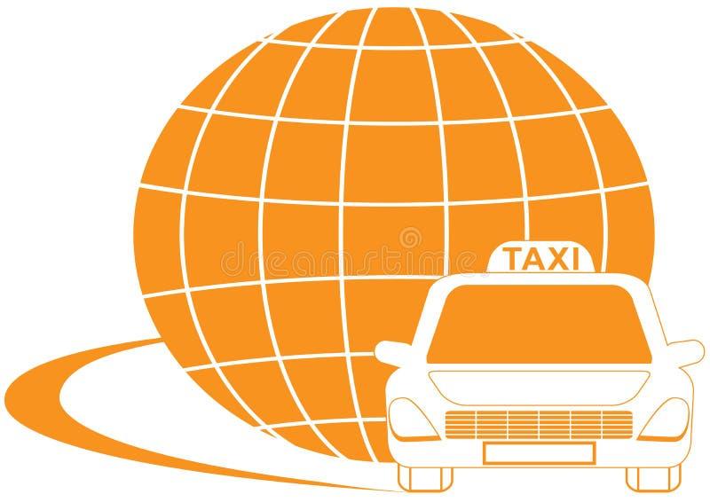 Σύμβολο ταξί με τη σκιαγραφία δρόμων, αμαξιών και πλανητών απεικόνιση αποθεμάτων
