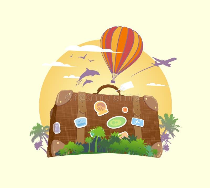 Σύμβολο ταξιδιού με τη βαλίτσα διανυσματική απεικόνιση