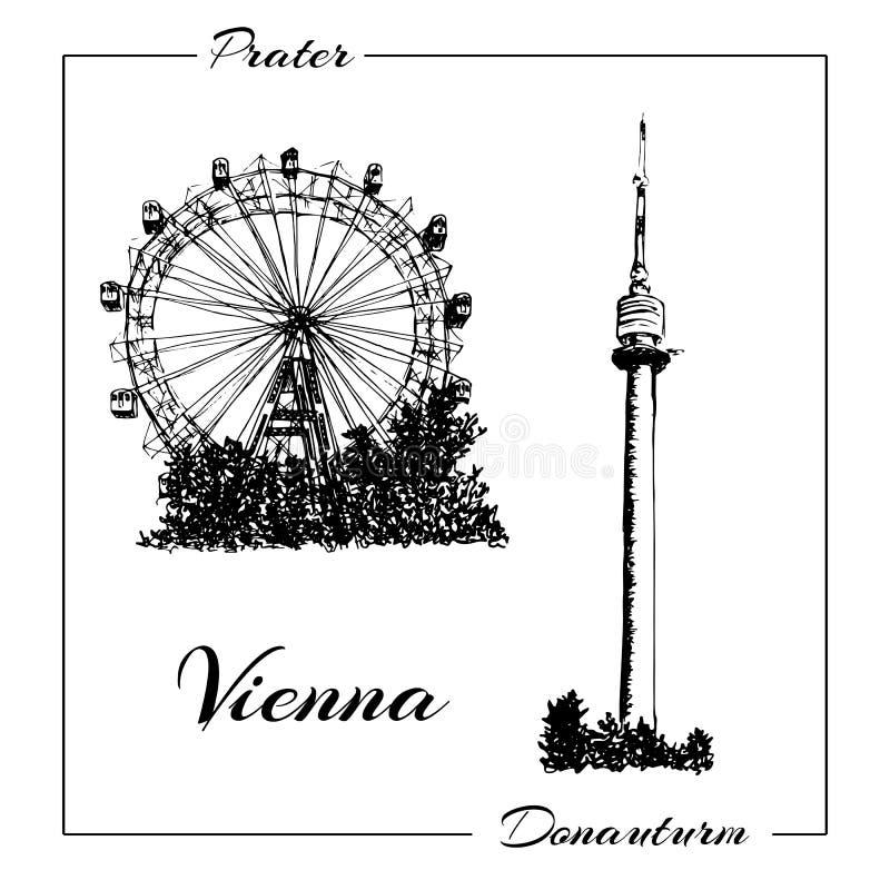 Σύμβολο της Βιέννης Διανυσματική συρμένη χέρι απεικόνιση σκίτσων μανδρών μελανιού Donauturm, Prater ελεύθερη απεικόνιση δικαιώματος