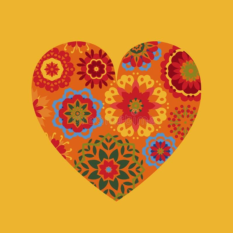 Σύμβολο της καρδιάς στη διακόσμηση λουλουδιών print Επίπεδο ύφος απεικόνιση αποθεμάτων