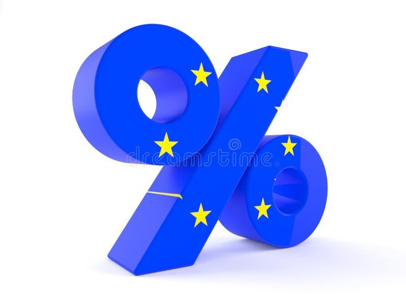 Σύμβολο τοις εκατό με τη σημαία ευρωπαϊκών ενώσεων διανυσματική απεικόνιση