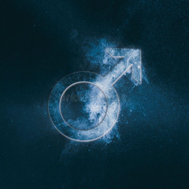 Σύμβολο του Άρη πλανητών Σημάδι του Άρη Αφηρημένο υπόβαθρο νυχτερινού ουρανού ελεύθερη απεικόνιση δικαιώματος