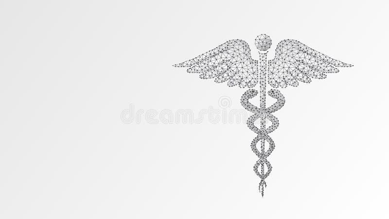 Σύμβολο υγείας κηρυκείων ιατρικό σύμβολο, έννοια υγειονομικής περίθαλψης Περίληψη, ψηφιακή, wireframe, χαμηλό πολυ πλέγμα, διανυσ διανυσματική απεικόνιση